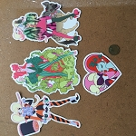 Set of 4 Harley-Ivy Stickers by Mindy Lee