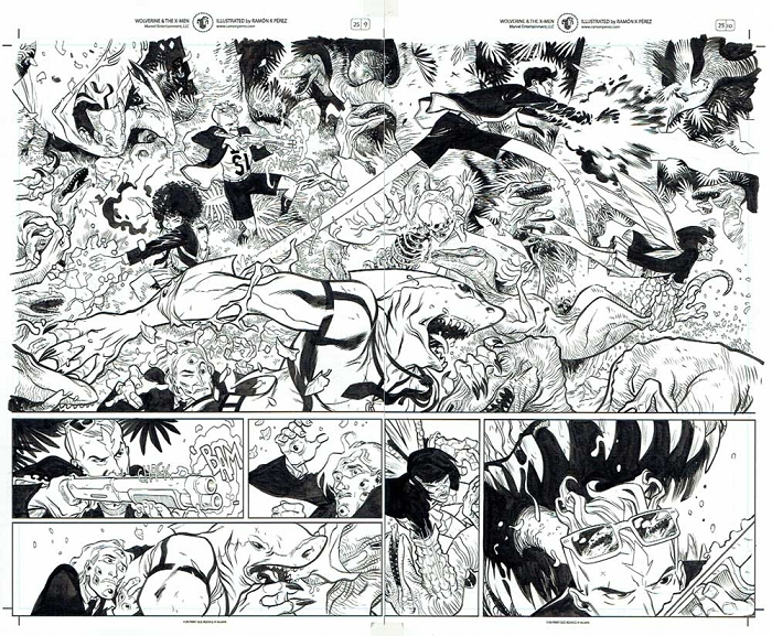 Wolverine & the X-Men #25 p.09-10 by Ramon Perez